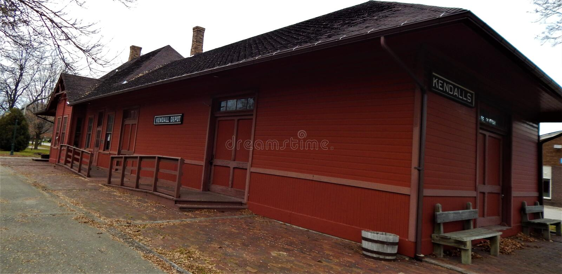 Kendall Depot storico su Elroy Sparta Trail immagine stock