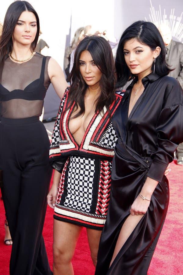 Kendall Jenner, Kim Kardashian e Kylie Jenner fotografia de stock