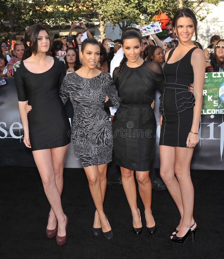 Kendall Jenner, Kim Kardashian, Kourtney Kardashian, Kylie Jenner images stock