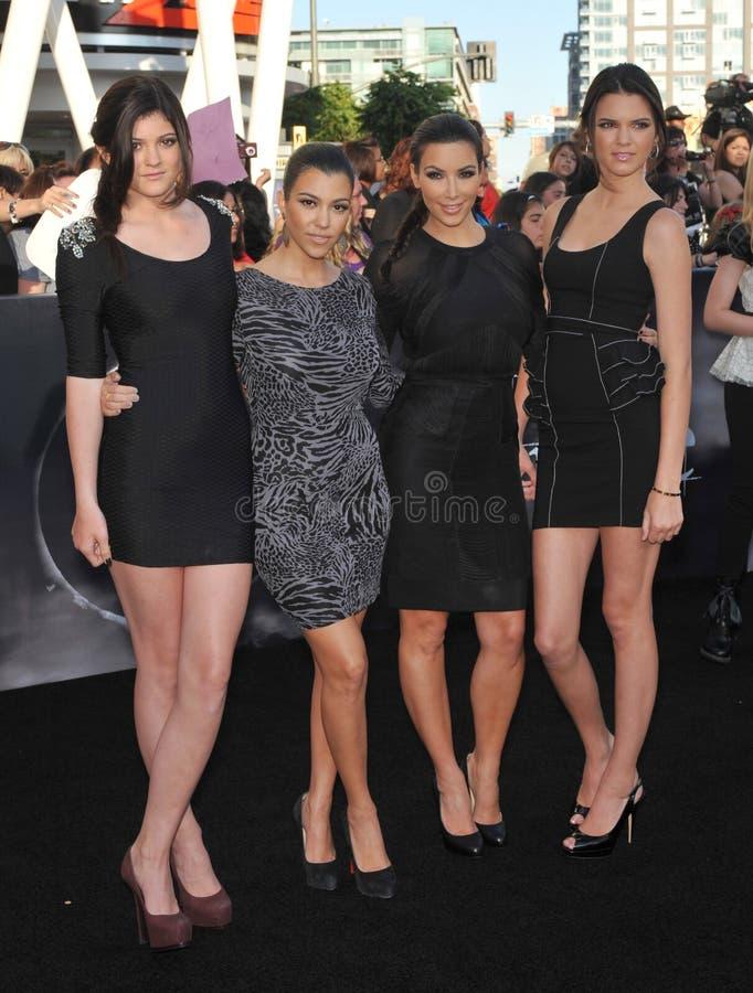 Kendall Jenner, Kim Kardashian, Kourtney Kardashian, Kylie Jenner imagem de stock royalty free
