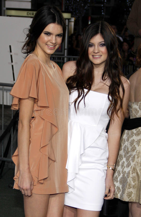 Kendall Jenner and Kylie Jenner royalty free stock photo