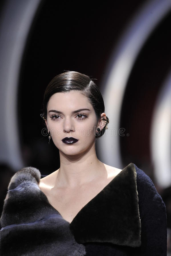 Kendall Jenner walks the runway during the Christian Dior show. PARIS, FRANCE - MARCH 04: Kendall Jenner walks the runway during the Christian Dior show as part royalty free stock photos