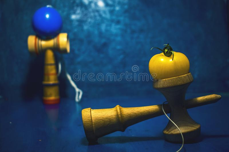 `Kendama` traditional Japanese toy and healthy food for teens kids concept teenagers food habits concept children health royalty free stock photography