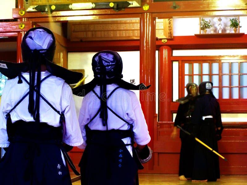 Kenddo practice. A Kenddo training school at Nikko stock photo
