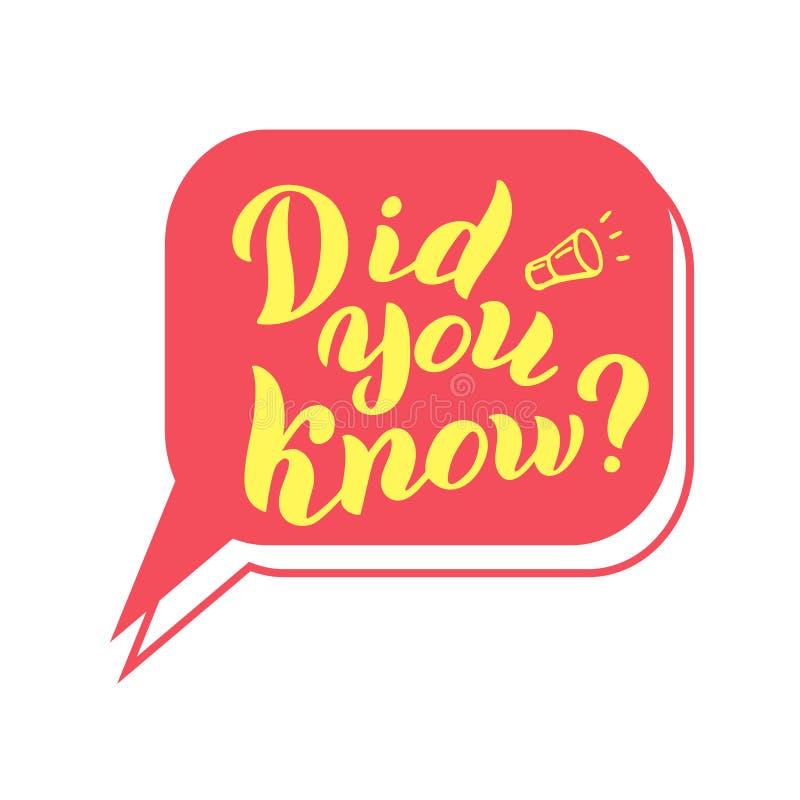 Kende u typografiecitaat Grappige van letters voorziende tekst Interessant feitenkenteken vector illustratie