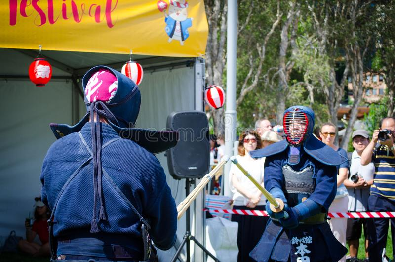Kendo is Japanese martial art, which descended from swordsmanship and uses bamboo swords and protective armour. SYDNEY, AUSTRALIA. – On December 9, 2017 stock photo