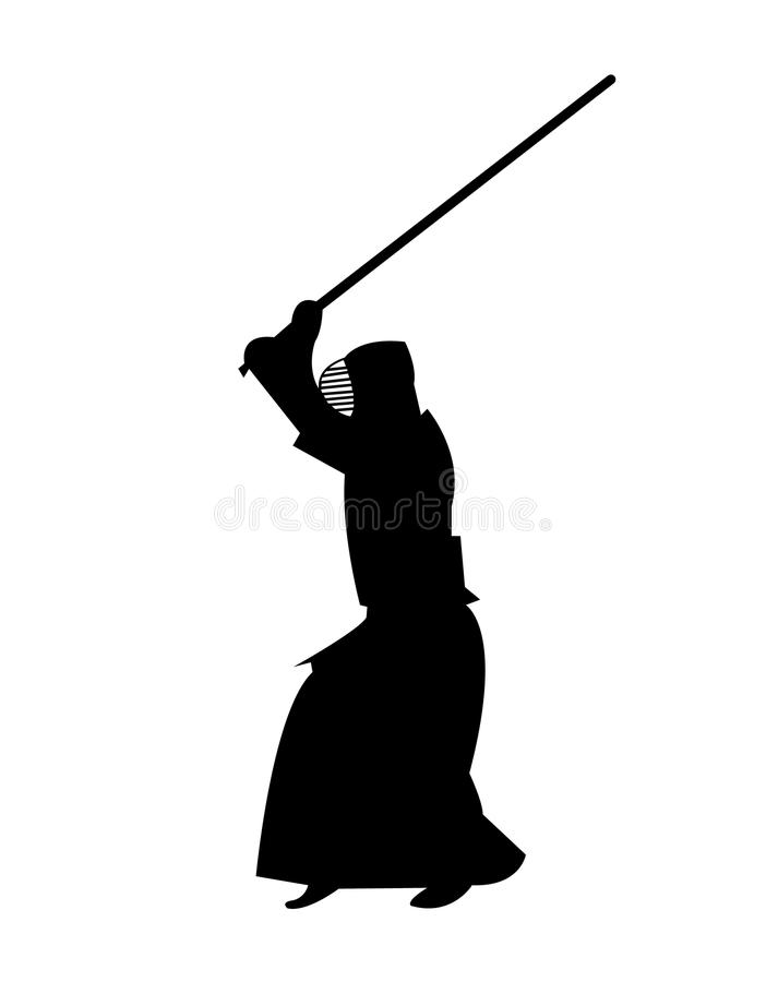 Kendo krigs- konstnär med ett träsvärd royaltyfri illustrationer