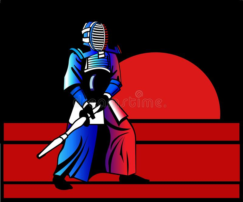 Kendo sensei stands at decline royalty free stock photo