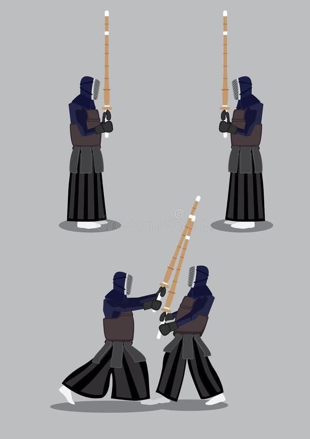 Kendo Sparring Vector Illustration illustration de vecteur