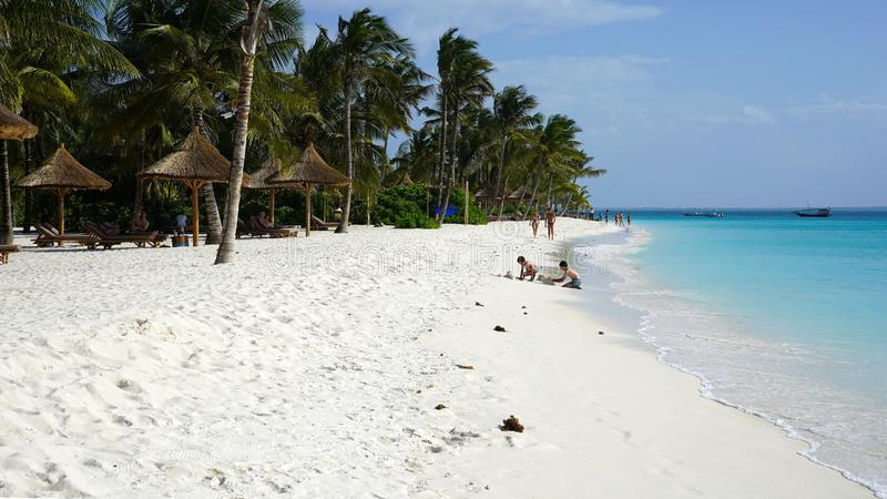 Kendwa beach, Zanzibar. Kendwa is located northwest of Zanzibar Island. It has a long beach of heavenly white sand royalty free stock images