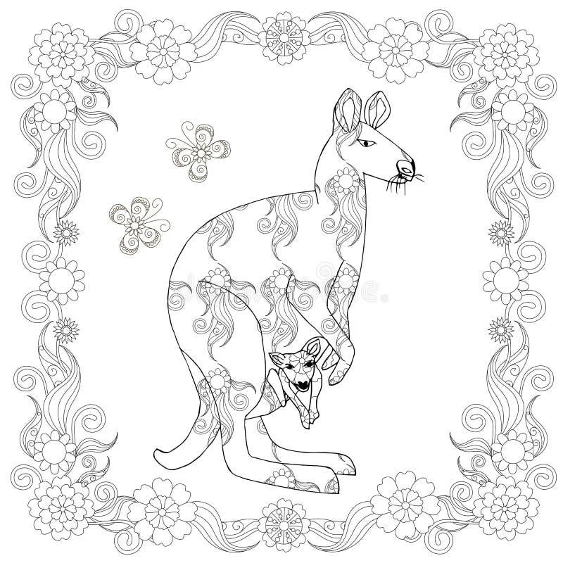 Kenguru en página que colorea del marco Ejemplo divertido lindo de las historietas del elemento del diseño floral ilustración del vector