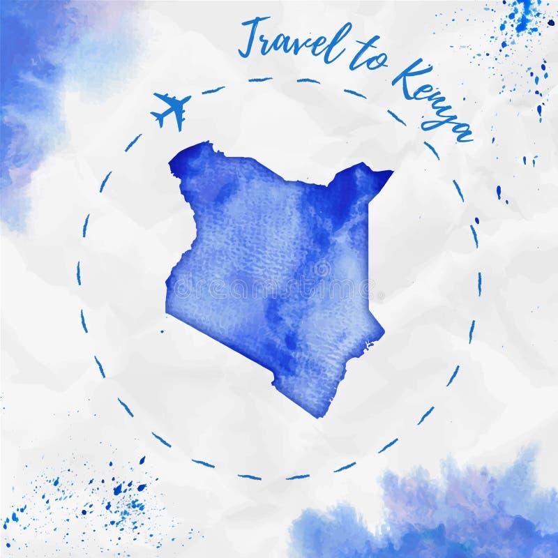 Kenia-Aquarellkarte in den blauen Farben stock abbildung