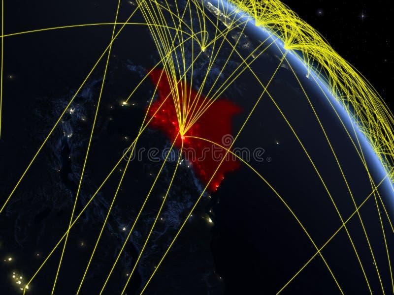 Kenia del espacio con la red ilustración del vector