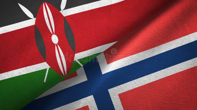 Kenia en Noorwegen twee vlaggen textieldoek, stoffentextuur royalty-vrije illustratie