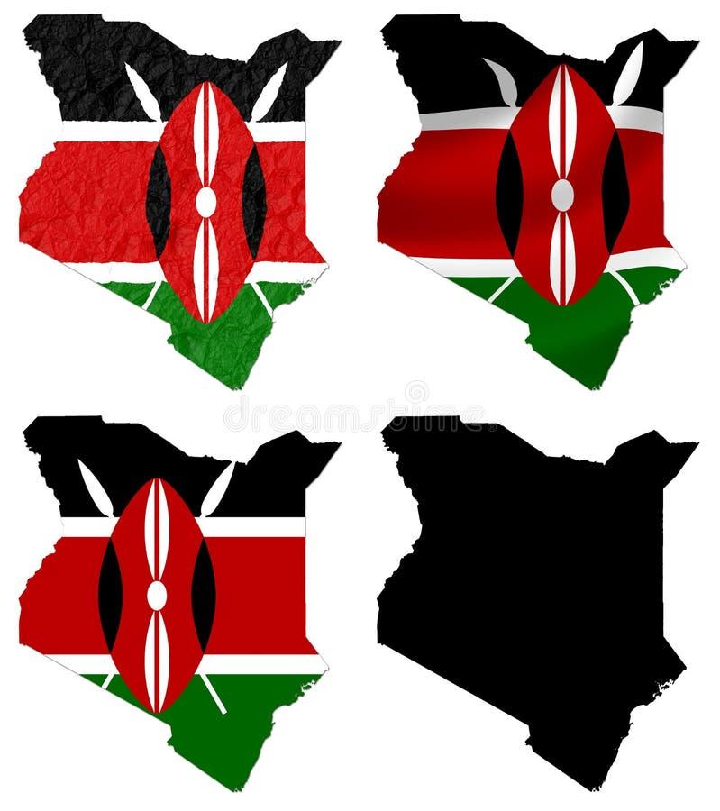 Kenia-Flagge über Kartencollage lizenzfreie abbildung