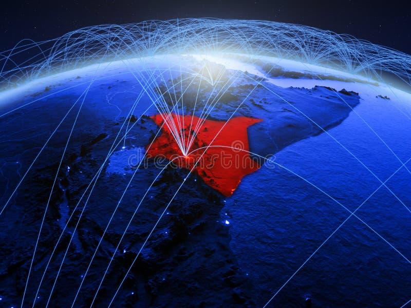 Kenia op blauwe digitale aarde met internationaal netwerk die mededeling, reis en verbindingen vertegenwoordigen 3D Illustratie royalty-vrije stock afbeelding