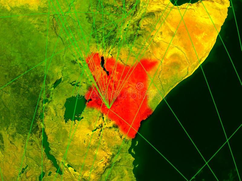 Kenia op digitale kaart stock illustratie