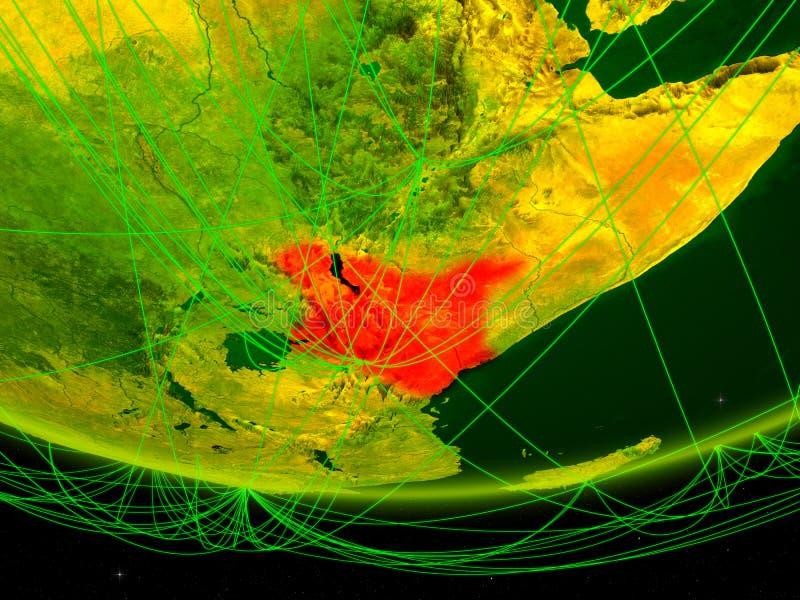 Kenia op groen model van aarde met netwerk die digitaal tijdperk, reis en mededeling vertegenwoordigen 3D Illustratie Elementen v stock foto