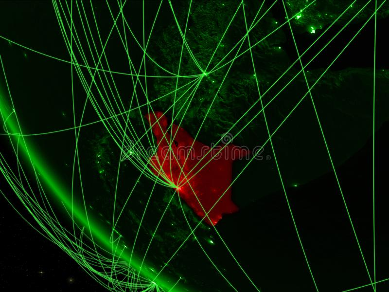 Kenia op groene aarde van ruimte met netwerk Concept internationale mededeling, technologie en reis 3d stock illustratie