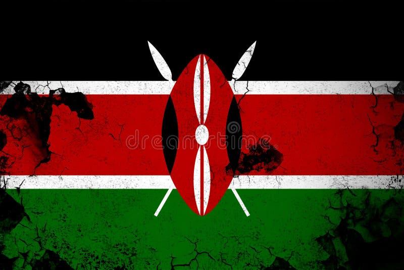 Kenia oxidado y ejemplo de la bandera del grunge stock de ilustración