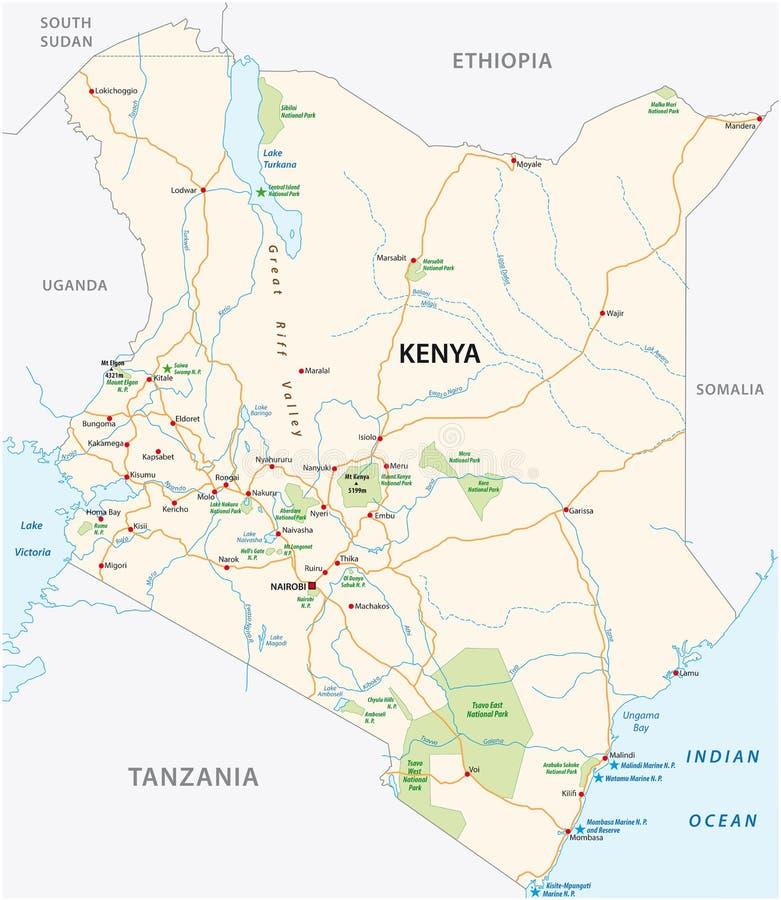 Kenia-Straße und Nationalparkvektorkarte lizenzfreie abbildung