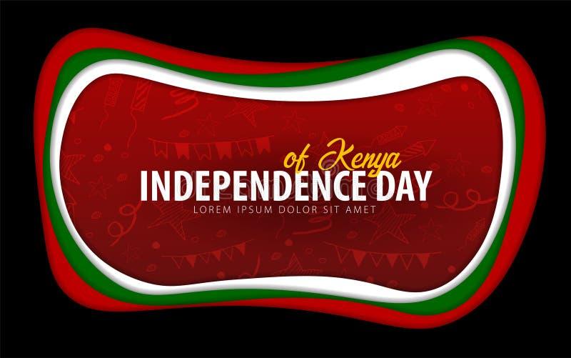 kenia Tarjeta de felicitación del Día de la Independencia estilo del corte del papel stock de ilustración