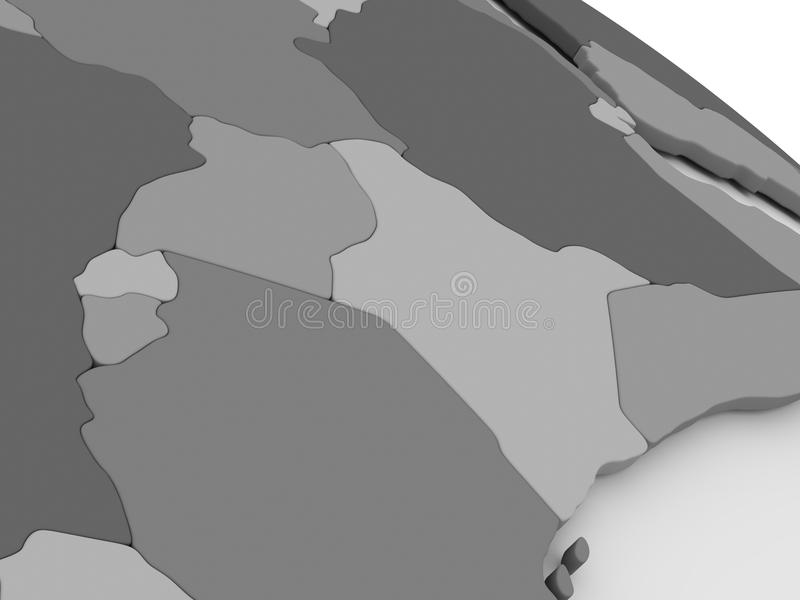 Kenia, Uganda, Rwanda y Burundi en 3D gris trazan stock de ilustración