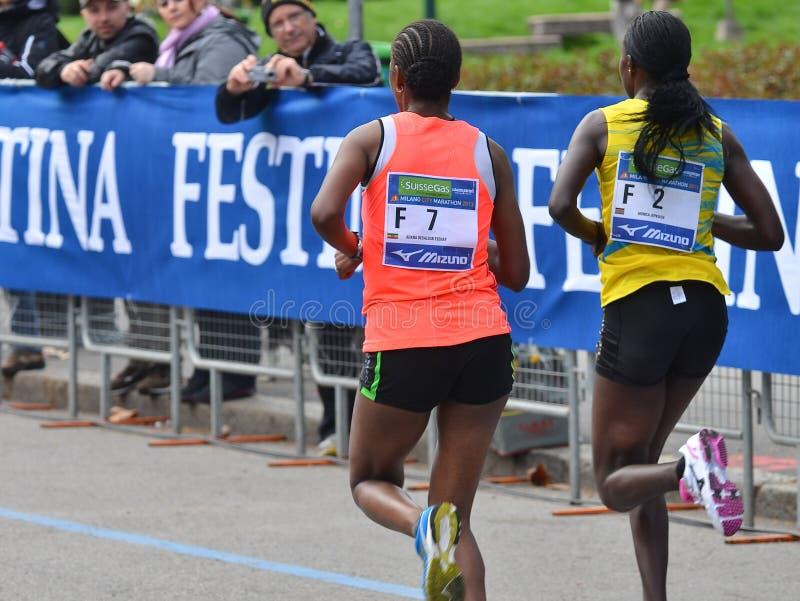 米兰市2013年马拉松妇女赛跑者 免版税库存图片