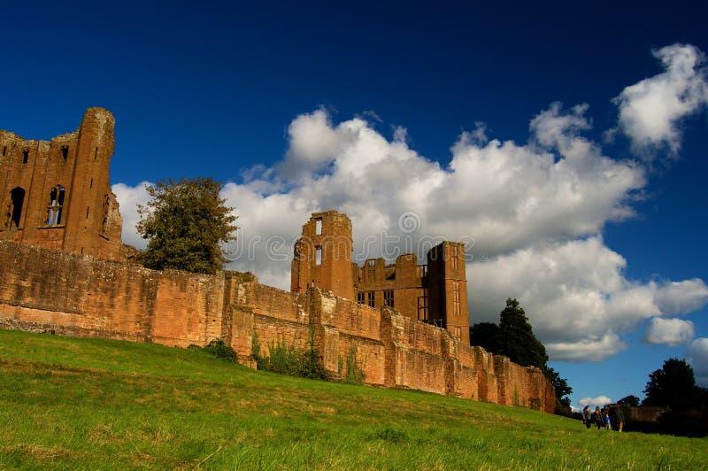Kenilworth城堡和惊人的天空,英国历史,沃里克郡英国 免版税图库摄影