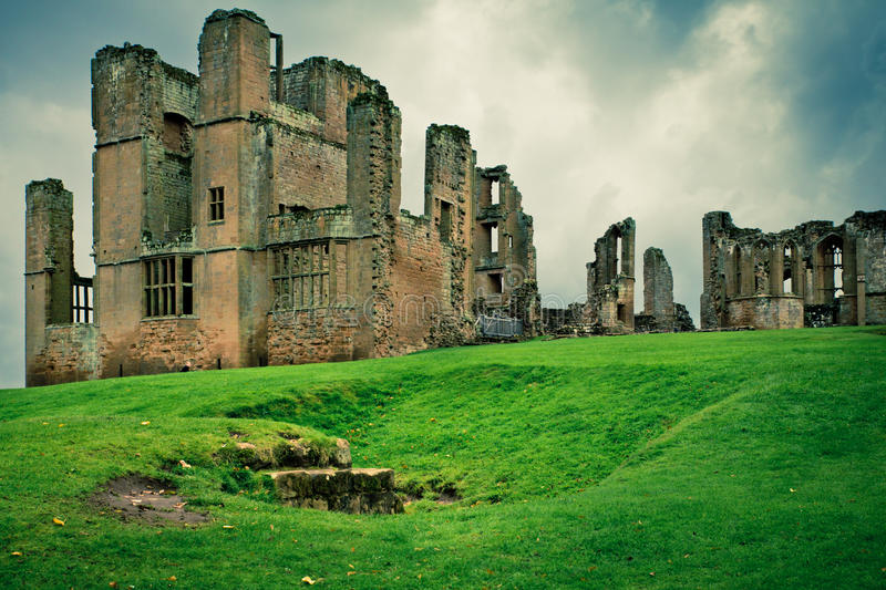 Kenilworth Castle UK. Historic medieval Kenilworth castle ruins in the United Kingdom with vintage style filter effect royalty free stock photos