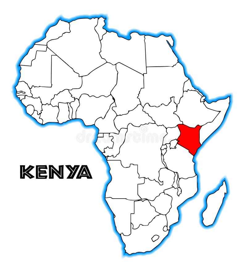 Kenja Afryka mapa ilustracji