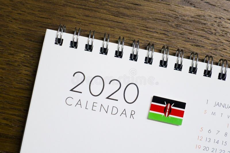 Kenja flaga na 2020 kalendarzu obraz royalty free
