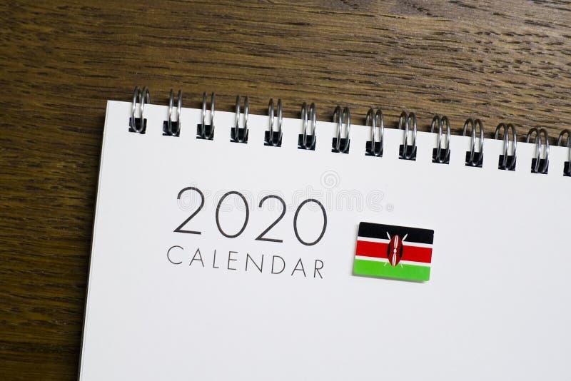 Kenja flaga na 2020 kalendarzu zdjęcia stock