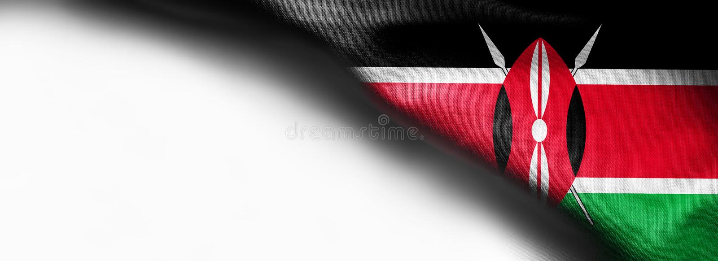 Kenja flagi wzór na tkaniny teksturze na białym tle - prawa wierzchołka kąta flaga obraz royalty free