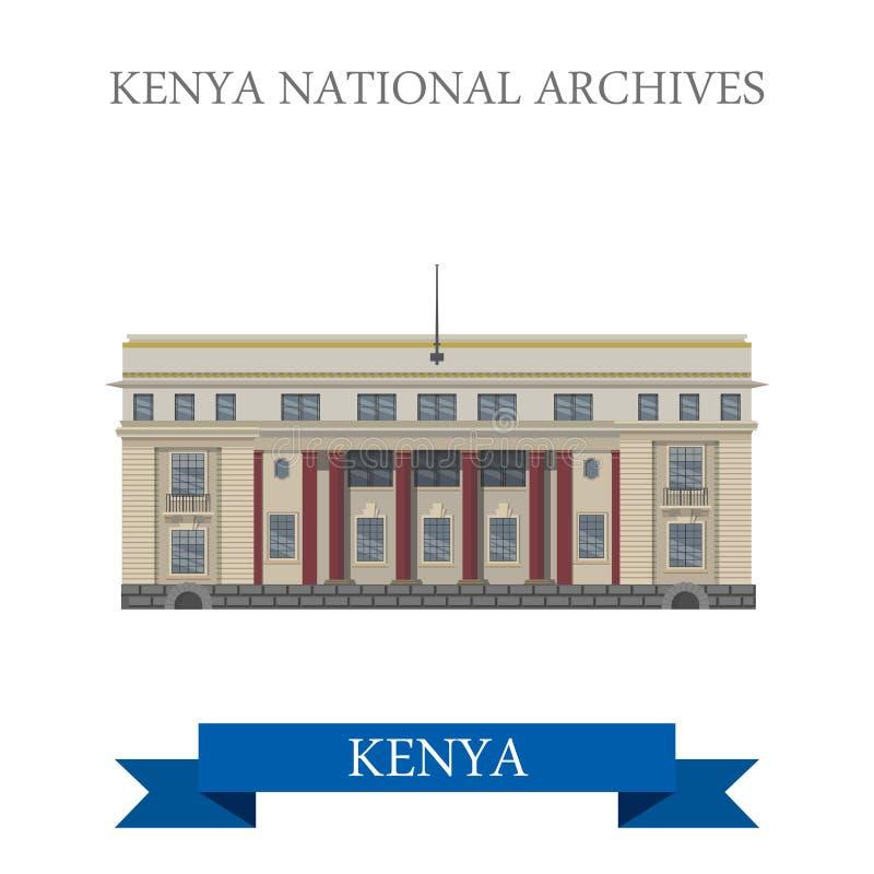 Kenja Krajowych archiwów kreskówki stylu płaski wektor ilustracji