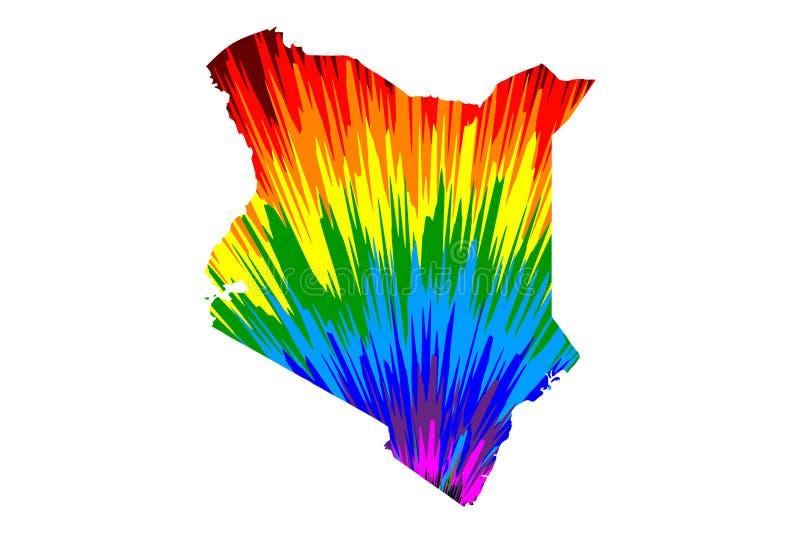 Kenja - mapa jest projektującym tęczy abstrakcjonistycznym kolorowym wzorem, republika robić koloru wybuch Kenja mapa ilustracja wektor