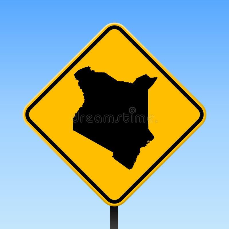 Kenja mapa na drogowym znaku royalty ilustracja