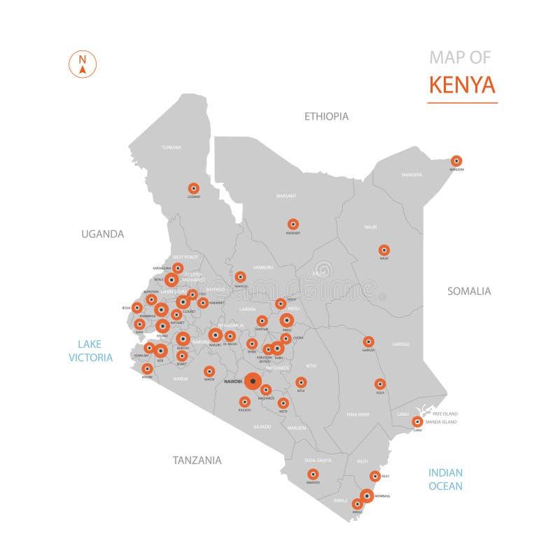 Kenja mapa z administracyjnymi podziałami ilustracja wektor