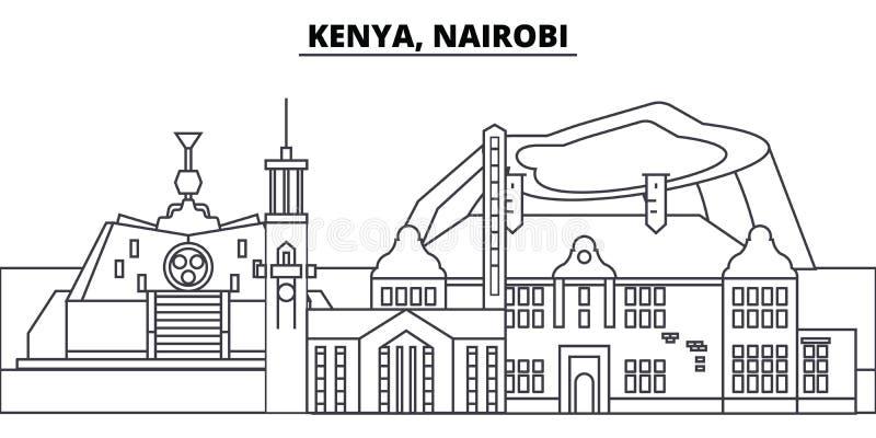 Kenja, Nairobia linii linii horyzontu wektoru ilustracja Kenja, Nairobia liniowy pejzaż miejski z sławnymi punktami zwrotnymi, mi ilustracji