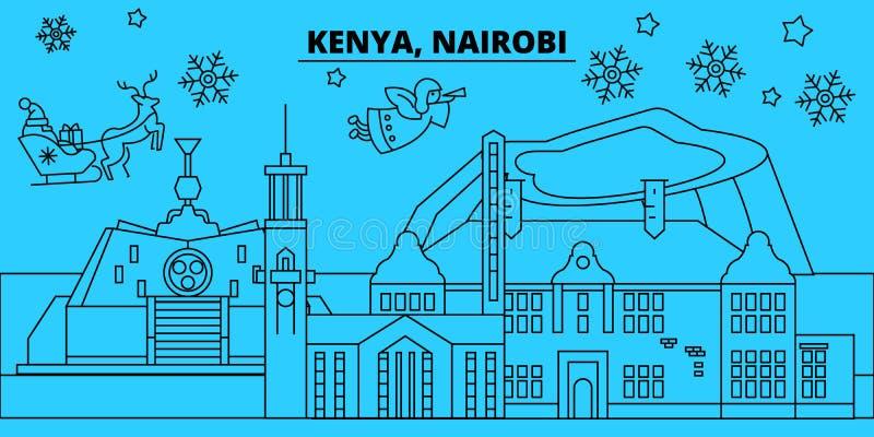 Kenja, Nairobia zima wakacji linia horyzontu Wesoło boże narodzenia, Szczęśliwy nowy rok dekorowali sztandar z Święty Mikołaj Mie royalty ilustracja