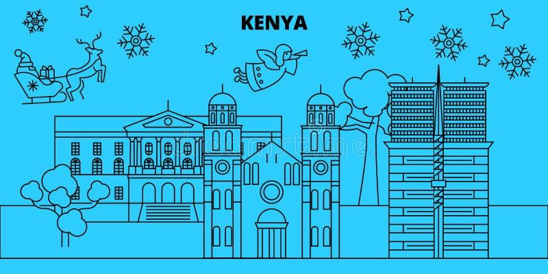 Kenja zimy wakacji linia horyzontu Wesoło boże narodzenia, Szczęśliwy nowy rok dekorowali sztandar z Święty Mikołaj Kenja liniowi ilustracji
