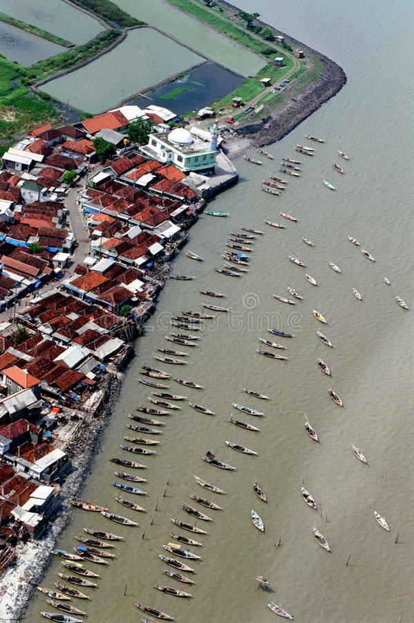 Kenjeran beach. Aerial photographs Kenjeran beach atmosphere Surabaya, East Java, Indonesia stock image