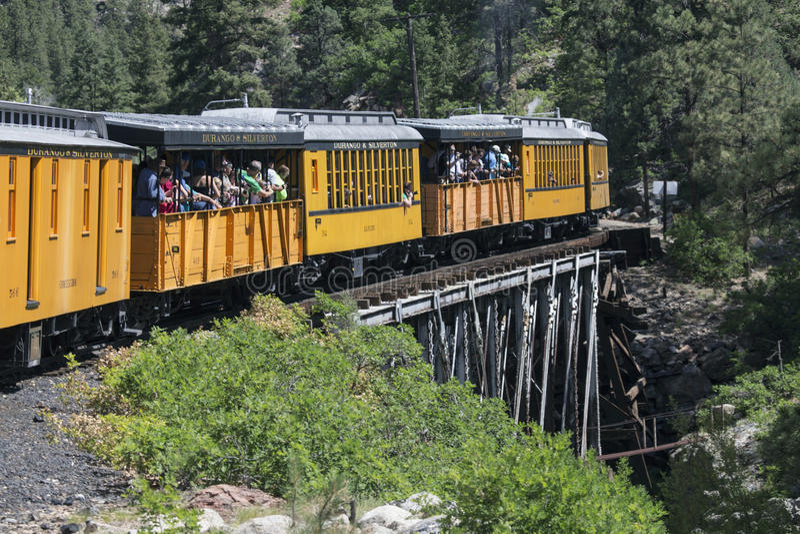 Kenmerken berijdt de Smalle de Maatspoorweg die van durango en van Silverton de Trein van de Stoommotor, Colorado, de V.S. stock afbeelding