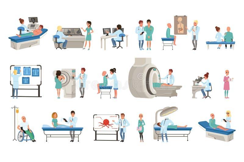 Kenmerkend en behandeling van kankerreeks, artsen, patiënten en materiaal voor de vectorillustraties van de oncologiegeneeskunde vector illustratie