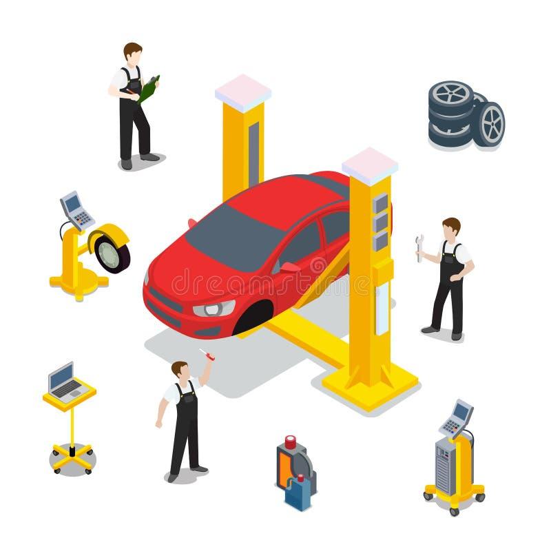 Kenmerkende de dienstvector van de technisch onderzoekauto vector illustratie