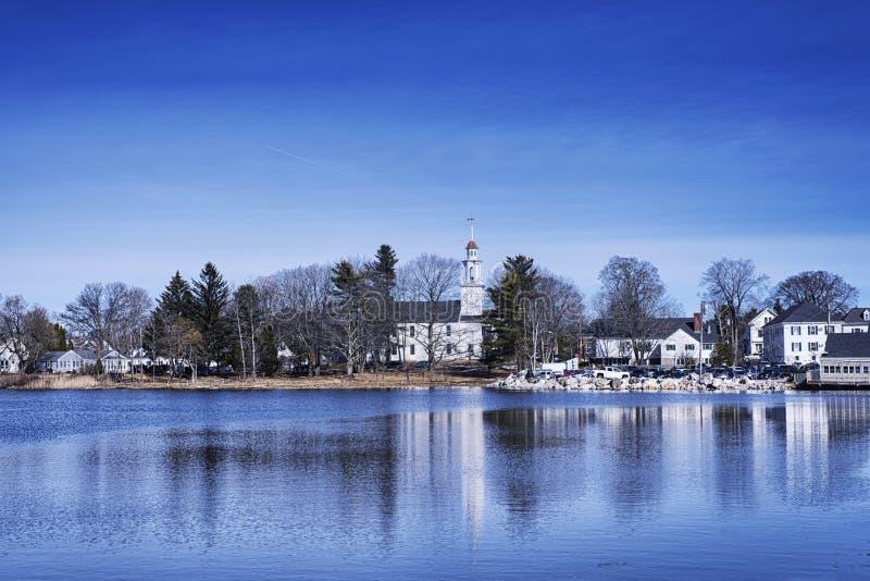 Kennebunkport Maine Winter Batson River fotografering för bildbyråer