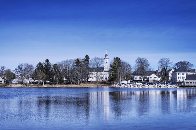 Kennebunkport Maine Winter Batson River image stock