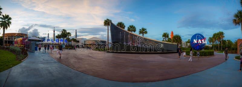 Kennedy Space Center Entrance Panorama immagini stock libere da diritti