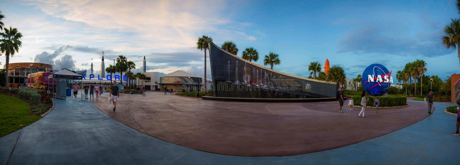 Kennedy Space Center Entrance Panorama royalty free stock images