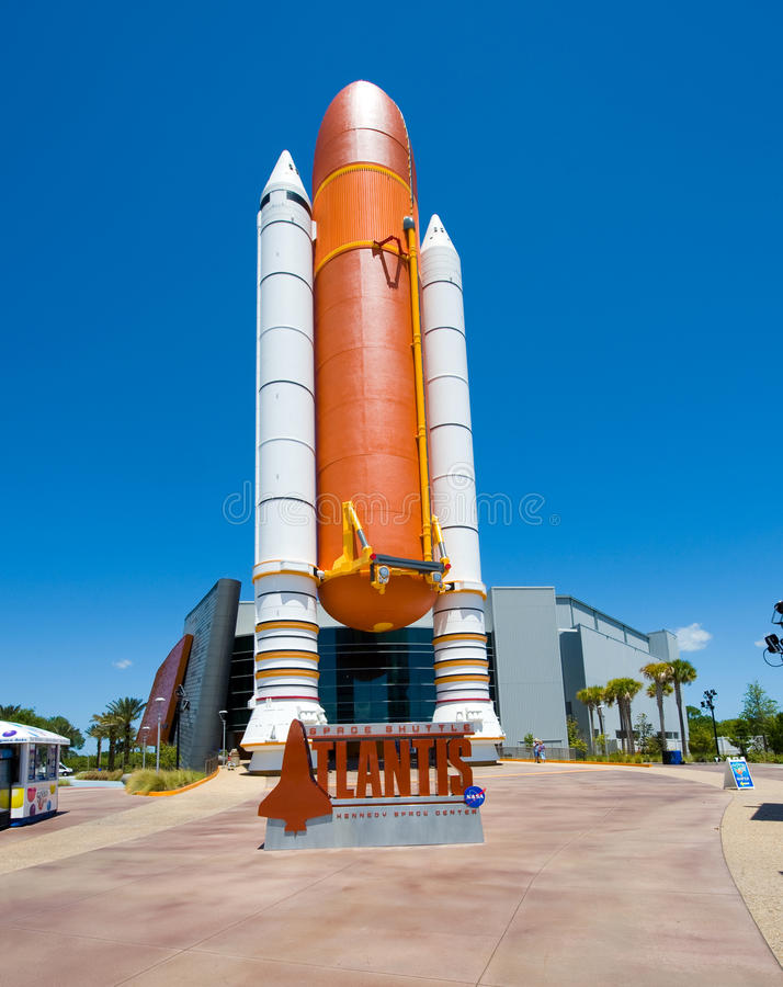 Kennedy Space Center. FLORIDA, USA - APRIL 27, 2016: The entrance of the building where Space Shuttle Atlantis is exhibited at the visitor complex of royalty free stock images